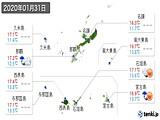 2020年01月31日の沖縄県の実況天気
