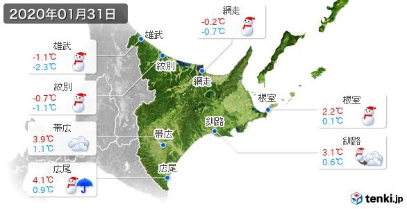 道東(2020年01月31日の天気