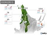 2020年02月01日の道北の実況天気