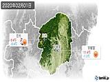 2020年02月01日の栃木県の実況天気