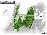 2020年02月01日の富山県の実況天気