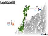 2020年02月01日の石川県の実況天気