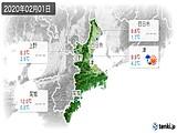 2020年02月01日の三重県の実況天気