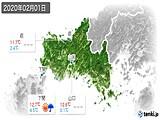 2020年02月01日の山口県の実況天気