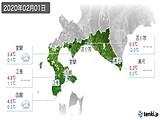 2020年02月01日の道南の実況天気