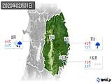 2020年02月01日の岩手県の実況天気