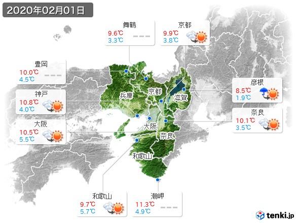 近畿地方(2020年02月01日の天気
