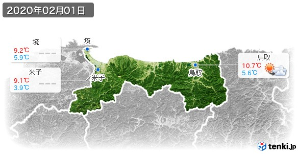 鳥取県(2020年02月01日の天気