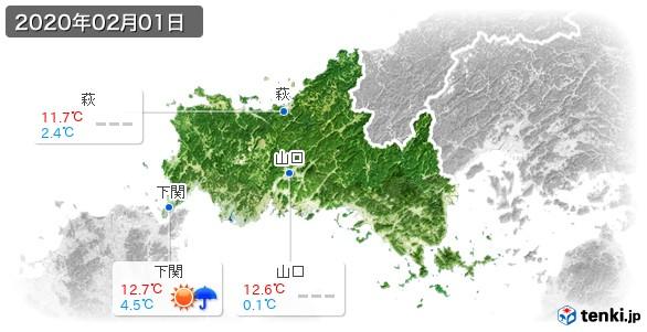 山口県(2020年02月01日の天気