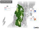 2020年02月02日の山形県の実況天気
