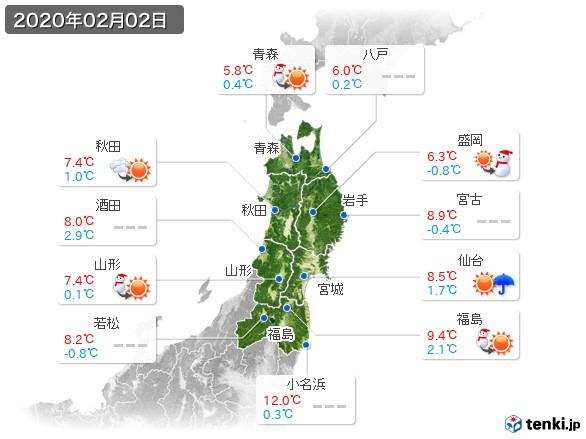 東北地方(2020年02月02日の天気