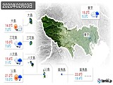 2020年02月03日の東京都の実況天気