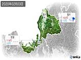 2020年02月03日の福井県の実況天気