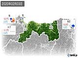2020年02月03日の鳥取県の実況天気