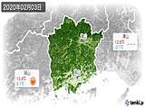 2020年02月03日の岡山県の実況天気