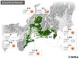 2020年02月04日の東海地方の実況天気