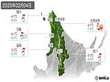 2020年02月04日の道北の実況天気