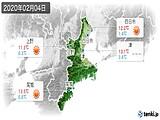 2020年02月04日の三重県の実況天気