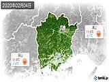 2020年02月04日の岡山県の実況天気