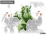 2020年02月04日の福岡県の実況天気