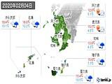 2020年02月04日の鹿児島県の実況天気