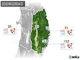 2020年02月04日の岩手県の実況天気