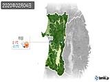 2020年02月04日の秋田県の実況天気