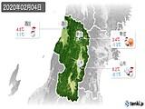 2020年02月04日の山形県の実況天気