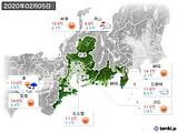 2020年02月05日の東海地方の実況天気