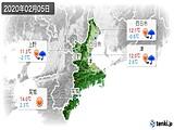 2020年02月05日の三重県の実況天気