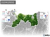 2020年02月05日の鳥取県の実況天気