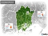 2020年02月05日の岡山県の実況天気