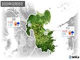 2020年02月05日の大分県の実況天気