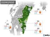 2020年02月05日の宮崎県の実況天気