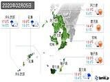 2020年02月05日の鹿児島県の実況天気