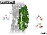 2020年02月05日の岩手県の実況天気