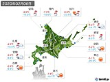 2020年02月06日の北海道地方の実況天気