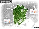 2020年02月06日の岡山県の実況天気