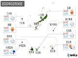 2020年02月06日の沖縄県の実況天気