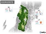 2020年02月07日の山形県の実況天気