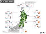 2020年02月08日の東北地方の実況天気