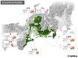 2020年02月08日の東海地方の実況天気
