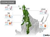 2020年02月08日の道北の実況天気