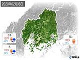 2020年02月08日の広島県の実況天気