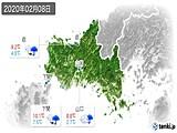 2020年02月08日の山口県の実況天気