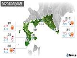 2020年02月08日の道南の実況天気