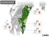2020年02月08日の宮崎県の実況天気
