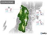 2020年02月08日の山形県の実況天気