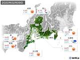 2020年02月09日の東海地方の実況天気