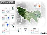 2020年02月09日の東京都の実況天気
